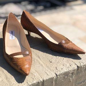 Jimmy Choo snakeskin kitten heels 8.5 / 38 1/2